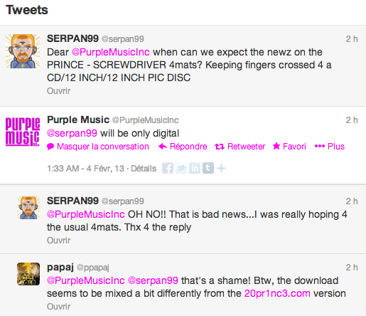 Twitter Purple Music about Prince's Screwdriver being only digital